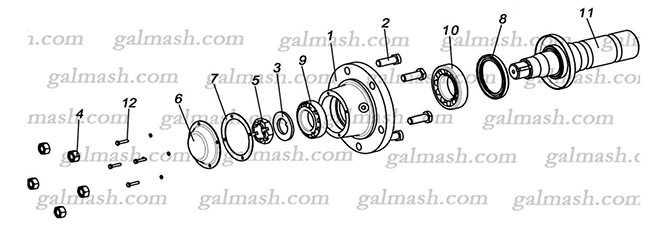 Ось колеса в сборе для глубокорыхлителей АЧН-3 и АЧН-4,2