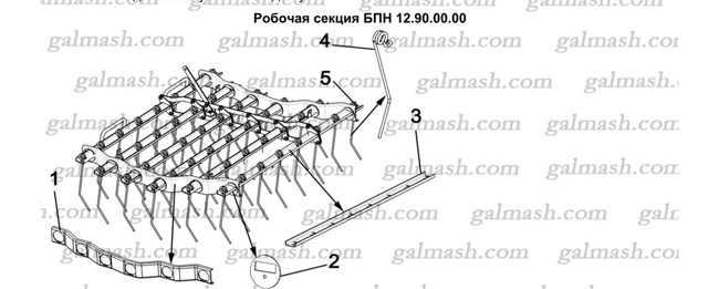 Робоча секція для зубової борони БПН Метелик