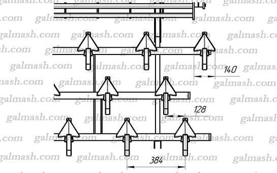 Схема розміщення робочих органів на передній секції (ККП-6.50.00.00.00) до культиватора ККП- 6,0 «Кардинал»